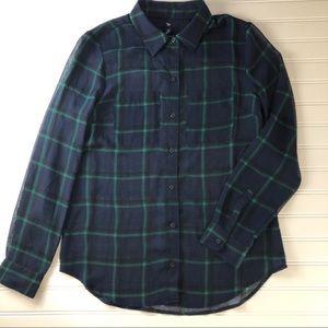 GAP sheer plaid blouse XS
